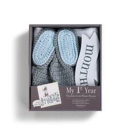 Fleurish Home Baby Boy First Year Photo Blanket w Knit Hat