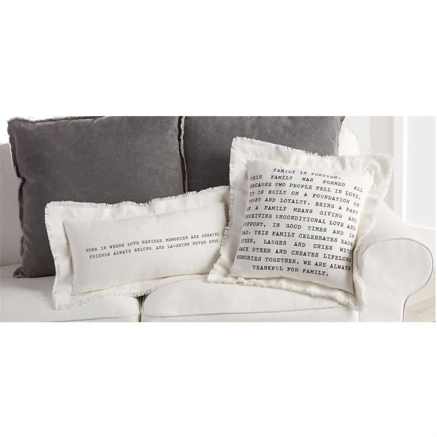 Mudpie FAMILY FRAYED COTTON PILLOW