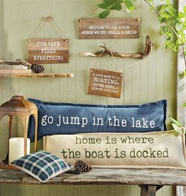 Mudpie HOME IS LONG LAKE PILLOW