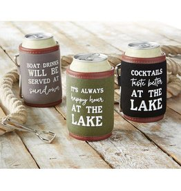 Mudpie GRAY BOAT DRINKS LAKE DRINK SLEEVE SET