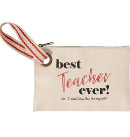 Mudpie BEST EVER TEACHER CANVAS POUCH *last chance