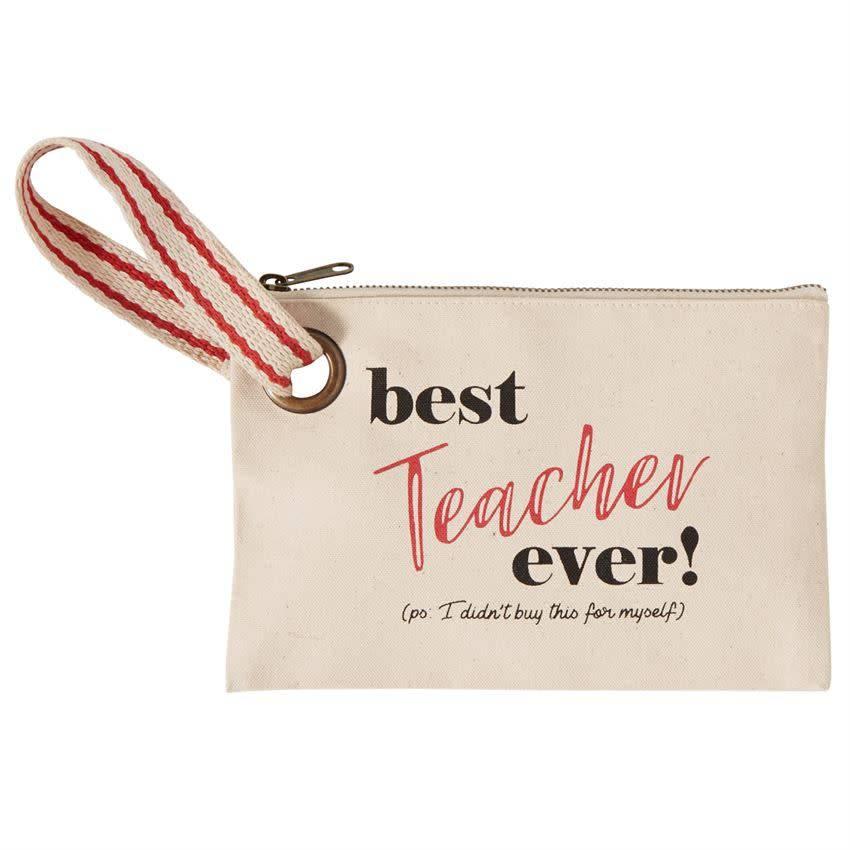 Mudpie BEST EVER TEACHER CANVAS POUCH