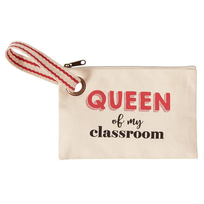 Mudpie QUEEN TEACHER CANVAS POUCH *last chance