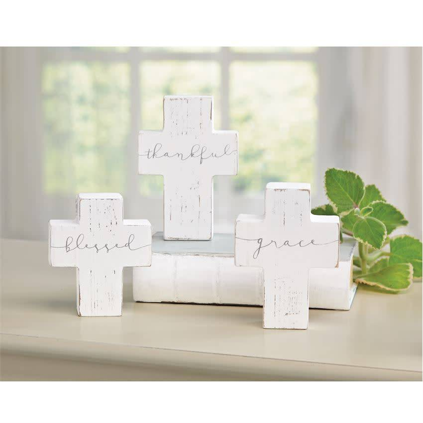 Mudpie BLESSED CROSS DECOR SHELF SITTER
