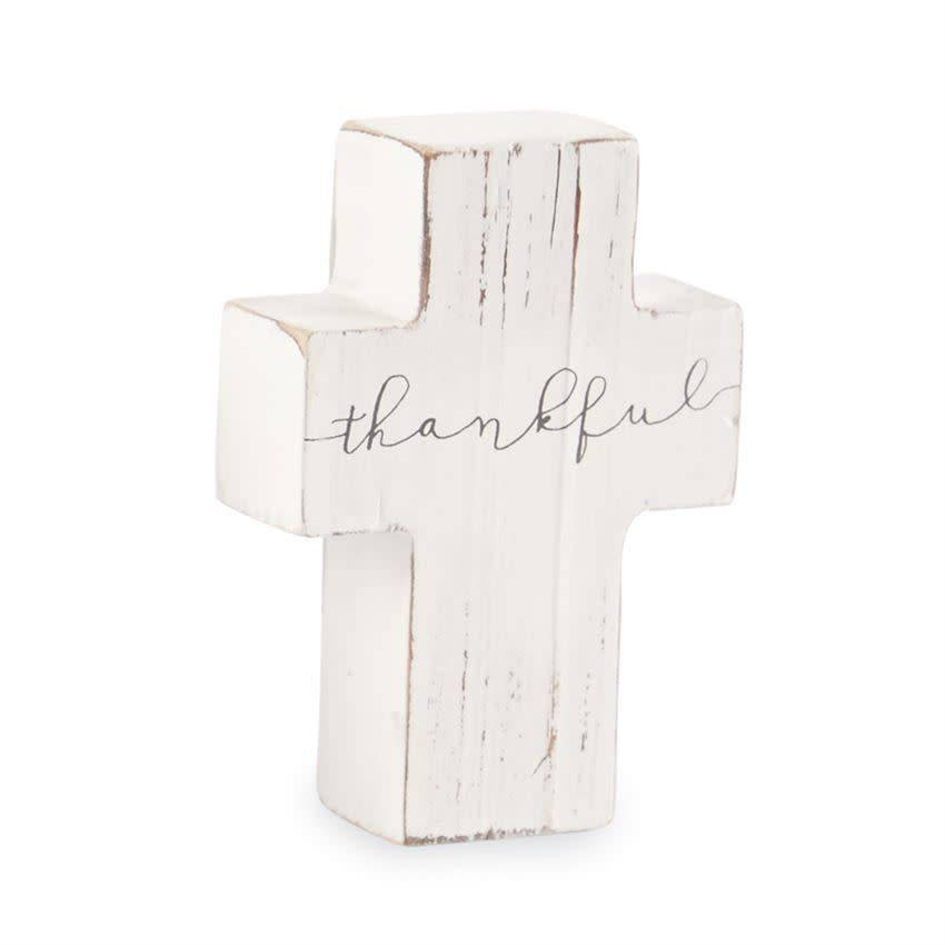 Mudpie THANKFUL CROSS DECOR SHELF SITTER