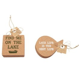 Mudpie SQUARE LAKE FISH CORK COASTERS