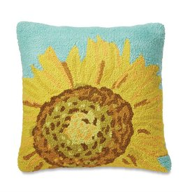Mudpie SUNFLOWER HOOKED WOOL PILLOW
