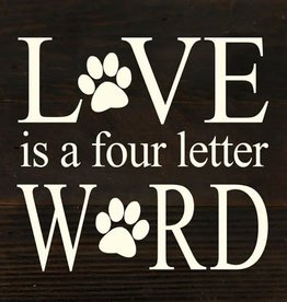 Fleurish Home Love is a Four Letter Word Reclaimed Wood Sign (choice of dark stain or whitewash)