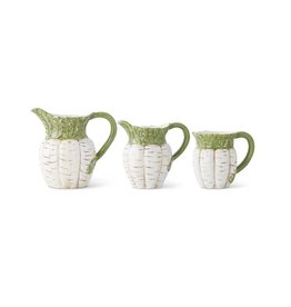 Fleurish Home White Carrot Ceramic Pitcher w Green Top