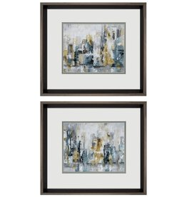 Fleurish Home Blue Gold Abstract 15x17 (Choice of 2 Styles)