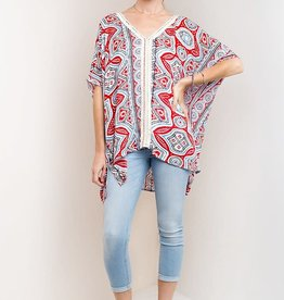Fleurish Home Oversized Red Print Tunic