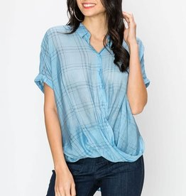 Fleurish Home Crossover Front Grid Plaid Top