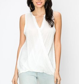 Fleurish Home Off-White Sleeveless Drop Back Blouse
