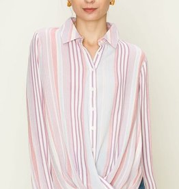 Fleurish Home Purple Multi-Stripe Button Down Top