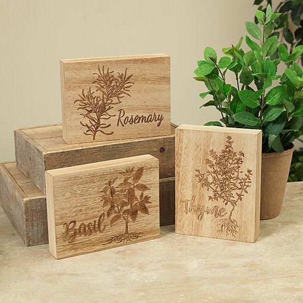Fleurish Home Wood Herb Block (3 asst)