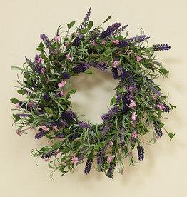 "Fleurish Home Natural Twig Lavender Wreath 24"""