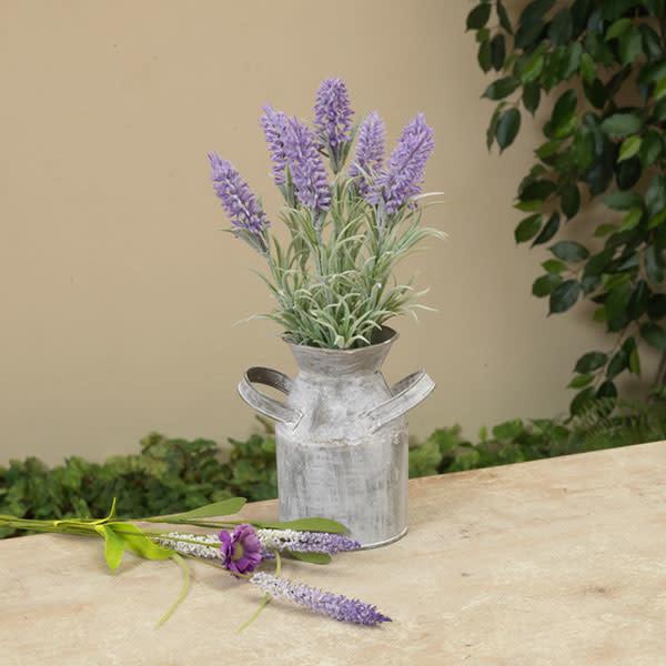 "Fleurish Home Lavender in Metal Milk Can 11.75"""