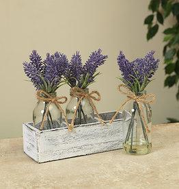 Fleurish Home Lavender in 3 Glass Vases w Wood Holder