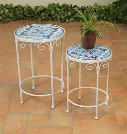 Fleurish Home Blue & White Ceramic Tile Accent Tables Set