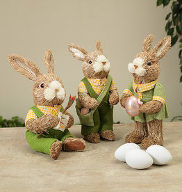Fleurish Home Natural Grass Bunny in Clothes (3 asst)