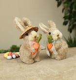Fleurish Home Natural Grass Bunny Holding Carrot (2 asst)