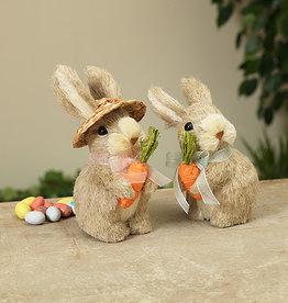 Fleurish Home Natural Grass Bunny Holding Carrot (2 asst)