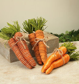 """Fleurish Home Lg Carrot Bundle 10"""" (3 asst) Tied w Jute"""