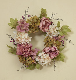 "Fleurish Home Deluxe Flower Wreath w Berry Accent 26"" (light)"