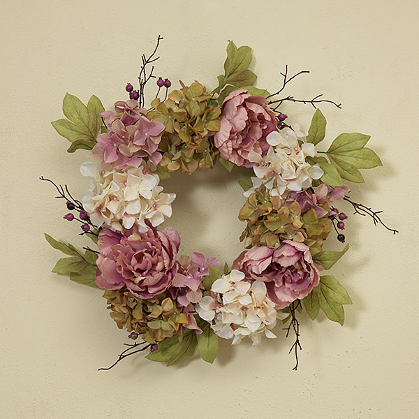 "Fleurish Home Deluxe Flower Wreath w Berry Accent 26"" (light)"