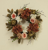 "Fleurish Home Deluxe Flower Wreath w Berry Accent 26"" (dark)"