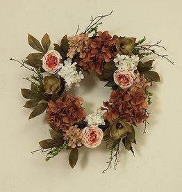 """Fleurish Home Deluxe Flower Wreath w Berry Accent 26"""" (dark)"""