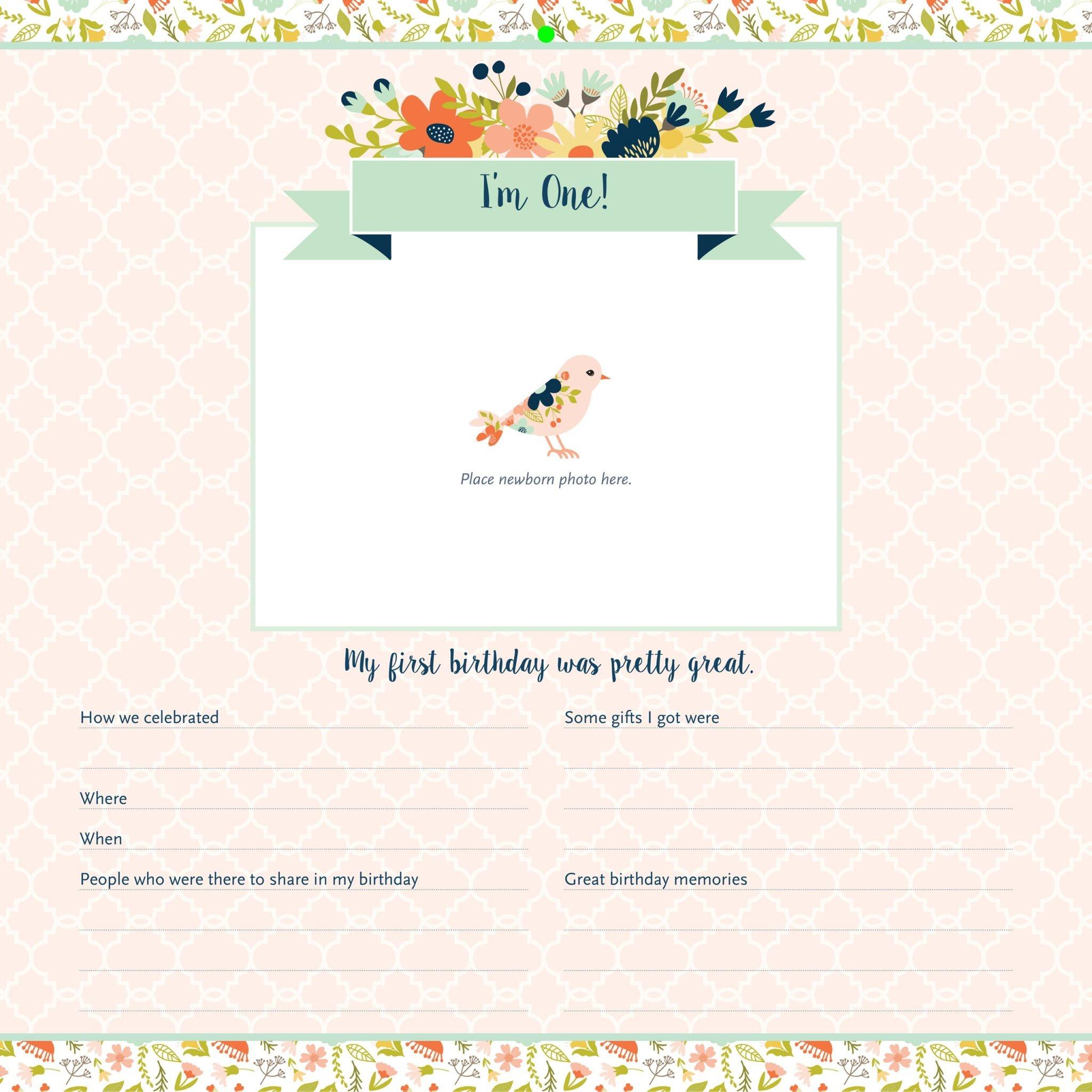 Fleurish Home My Life as a Baby: First-Year Calendar - Birds