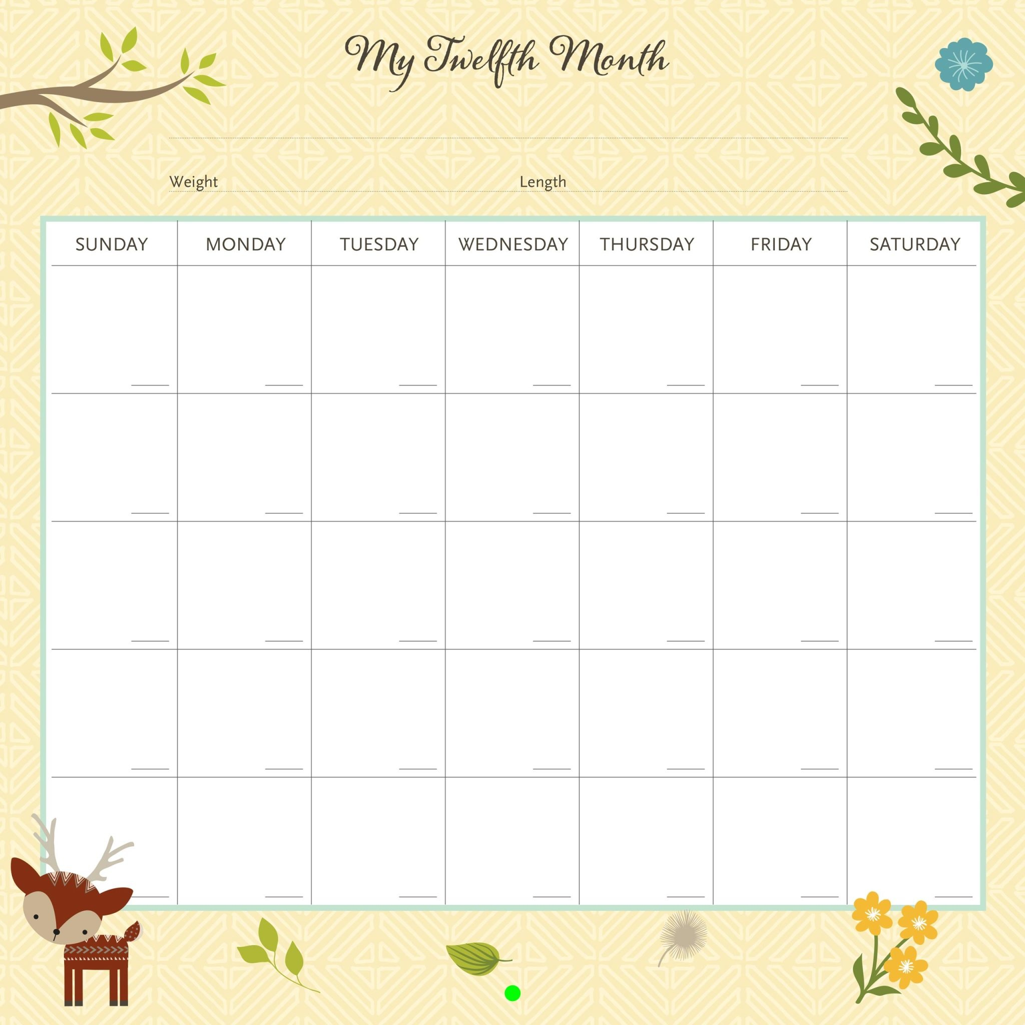Fleurish Home My Life as a Baby: First-Year Calendar - Woodland Friends