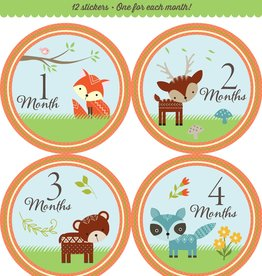 Fleurish Home *last chance* Baby's Monthly Milestone Stickers: Woodland Friends