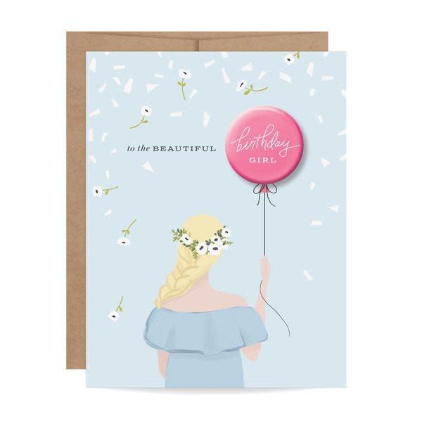 Fleurish Home Blonde Birthday Girl Button Card