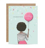 Fleurish Home African American Birthday Girl Button Card