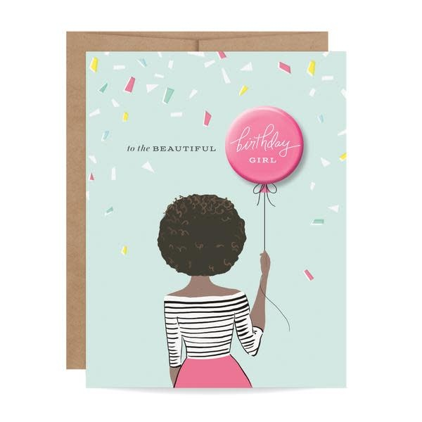 Fleurish Home African American Birthday Girl Button Card