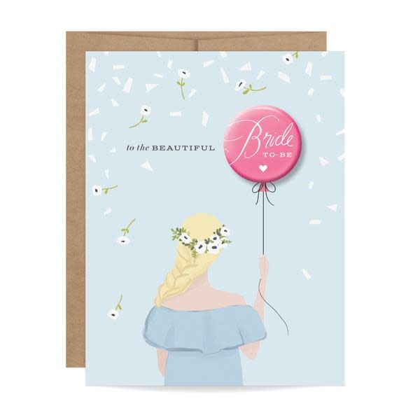Fleurish Home Bride to Be Button Card Blonde