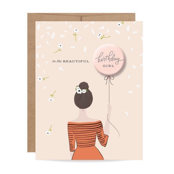 Fleurish Home Brunette Birthday Girl Button Card