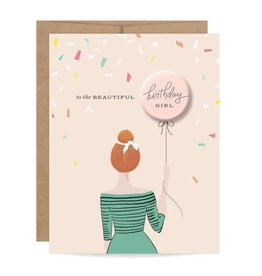 Fleurish Home Redhead Birthday Girl Button Card