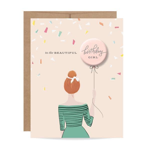 Fleurish Home Redhead Birthday Girl Button Card