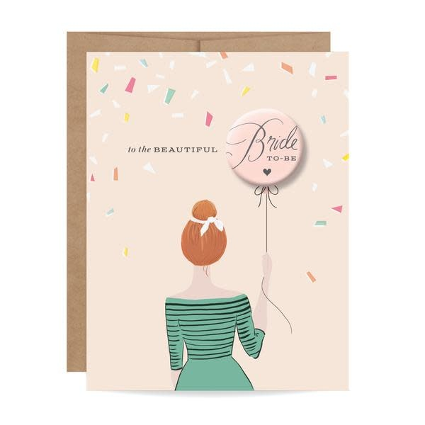 Inklings Paperie Bride to Be Button Card Redhead