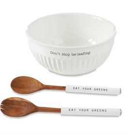 Mudpie FLUTED SALAD BOWL SET DON'T STOP BE-LEAFING