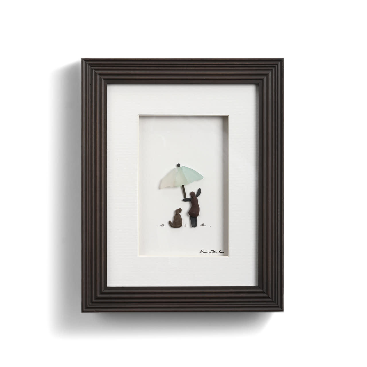 Fleurish Home Umbrella for Sharing (Child and Dog) Pebble Art 8x10