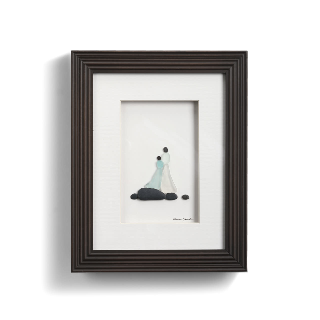 Sharon Nowlan Side By Side (Mother and Daughter) Pebble Art 8x10