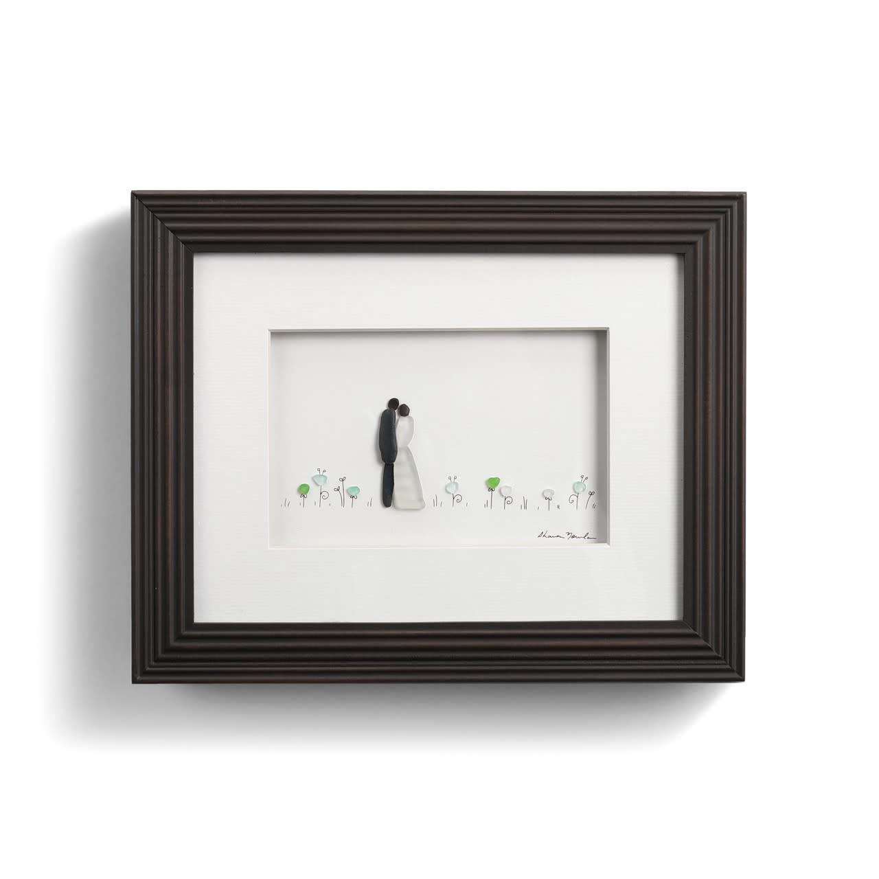 Sharon Nowlan Love In Full Bloom (Wedding Couple in the Garden) Pebble Art 10x8