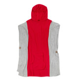 Fleurish Home Hooded Poncho Red & Grey O/S