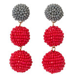 Fleurish Home Seed Bead Ball Drop Earrings Red & Grey