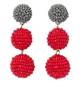 Fleurish Home Seed Bead Ball Drop Earrings Red & Grey