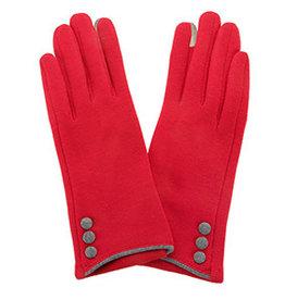 Fleurish Home Button Gloves Red & Grey